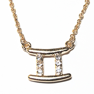 "GEMINI 18"" Zodiac Necklace offered in Goldtone or Silvertone with CZ Accents and lobster claw clasp"