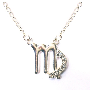 "VIRGO 18"" Zodiac Necklace offered in Goldtone or Silvertone with CZ Accents and lobster claw clasps"