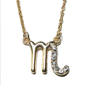 "SCORPIO 18"" Zodiac Necklace offered in Goldtone or Silvertone with CZ Accents and lobster claw clasp"