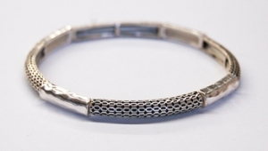 Small Weave, Hammered Stretch Scroll Bracelet