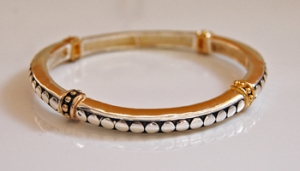 Goldtone Stretch Bracelet w/ Black Etching & Goldtone Dots