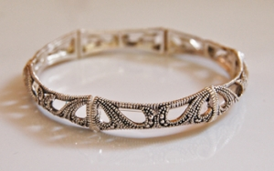 Silvertone Scroll Stretch Bracelet
