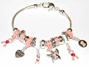 "Ambrosia Theme Charm Bracelet ""Breast Cancer Awareness"""