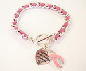 Ambrosia Pink Ribbon Charm Heart Bracelet