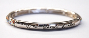 Insirational Love, Care, Share Stretch Scroll Bracelet