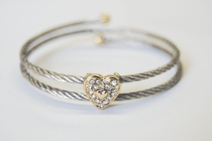 Silvertone Two-Tone Heart Cable Bracelet