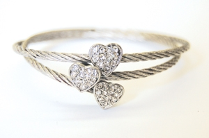 Silvertone Triple Heart Cable Bracelet