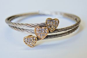 Silvertone Triple Heart Two-Tone O/S Cable Bracelet