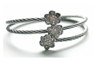 Silvertone Triple Flower Cable Bracelet