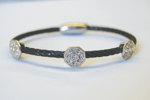Triple Round Black Cable Bracelet