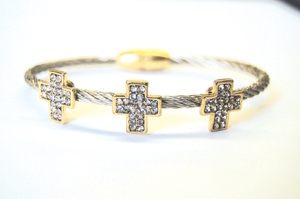 Silvertone Triple Cross Cable Bracelet