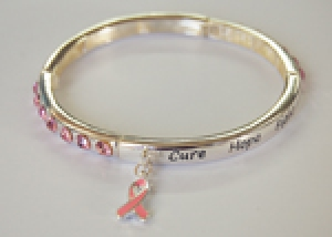 Ambrosia Pink Ribbon Bangle Charm Bracelet