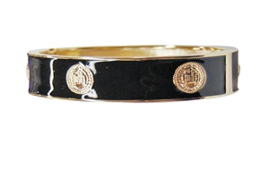 Elizabeth Jules Enamel Stack Bangle, Black / Goldtone