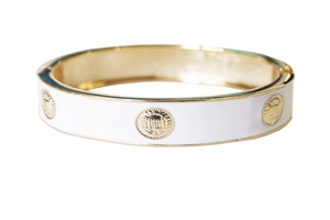 Elizabeth Jules Enamel Stack Bangle, White / Goldtone