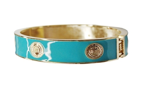 Elizabeth Jules Enamel Stack Bangle, Blue / Goldtone