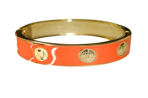 Elizabeth Jules Enamel Stack Bangle, Orange / Goldtone