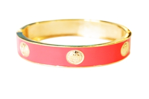 Elizabeth Jules Enamel Stack Bangle, Pink / Goldtone