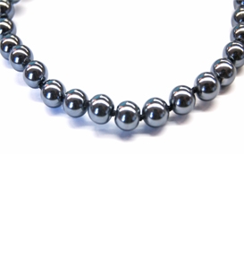 Maresca 8mm Grey Glass Pearl Necklace