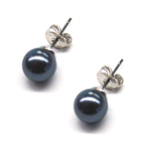 Maresca 8mm Grey Glass Pearl Earrings