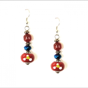 Ambrosia Earring: Drop, Red