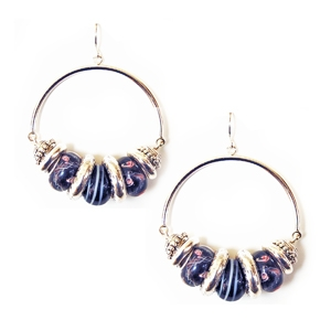 Ambrosia Earring: Drop Hoop, Black