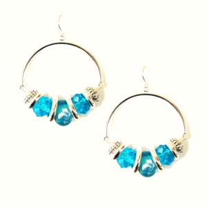 Ambrosia Earring: Drop Hoop, Blue
