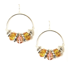 Ambrosia Earring: Drop Hoop, Yellow