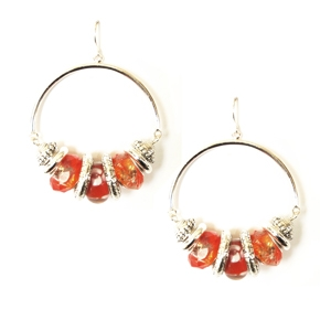 Ambrosia Earring: Drop Hoop, Orange