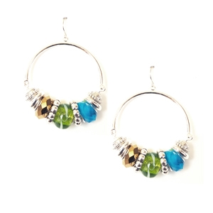 Ambrosia Earring: Drop Hoop, Multi