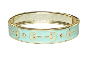 Enamel Stack bangle, Lt. Blue / Goldtone Designs