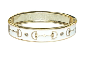 Enamel Stack Bangle, White / Goldtone Designs