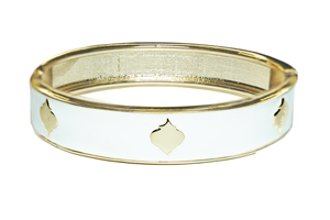 Enamel Stack Bangle, White / Goldtone
