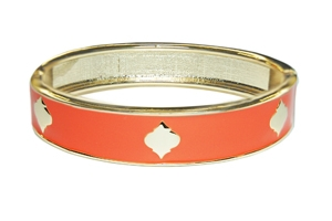 Enamel Stack Bangle, Orange / Goldtone