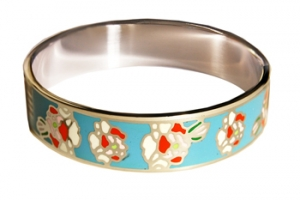 Designer Inspired Flower Art Blue Enamel Bangle, set in Silvertone