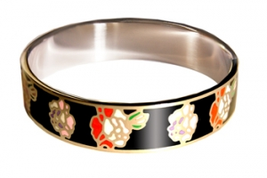 Designer Inspired Flower Art Black Enamel Bangle, set in Silvertone