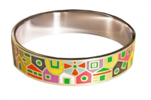 Designer Inspired Houses Art Enamel Bangle Set In Silvertone