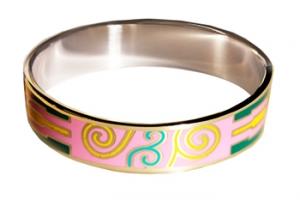 Designer Inspired Swirl Art Enamel Bangle, set in Silvertone