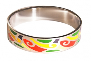 Designer Inspired Primary Color Art Enamel Bangle, set in Silvertone