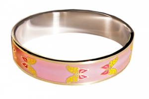 Designer Inspired Butterfly Art Enamel Bangle, set in Silvertone
