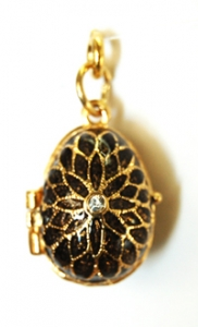 Flower CZ Center Egg Pendant / Locket, Measures 1 inch tall