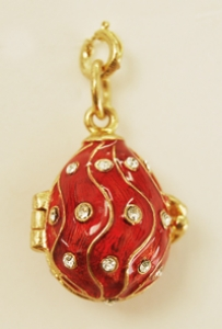 CZ In Waves Egg Pendant, Red