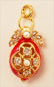 CZ and Pearl Egg Pendant, Red