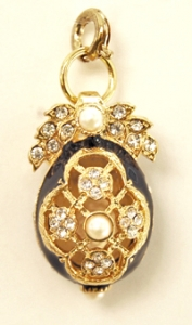 CZ and Pearl Egg Pendant, Navy