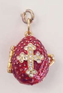CZ Cross Egg Pendant, Purple