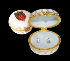 Romanov Round Lily of Valley Porcelain Box with 1.5 ct tw CZ Stud Earrings