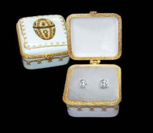 Romanov Square Gold Easter  Porcelain Box with 1.5 ct tw CZ Stud Earrings