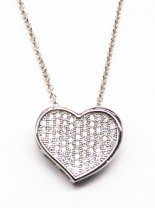 Diamondess SS PP, CZ Pave Heart Necklace