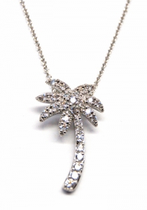 Diamondess SS PP, CZ Palm Tree Necklace