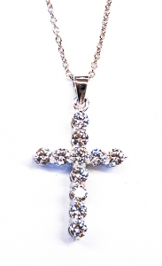 Diamondess SS PP, CZ Cross Necklace