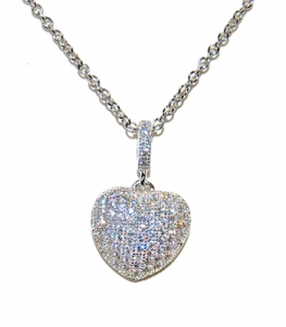Diamondess SS PP, CZ Pave Puffed Heart Necklace